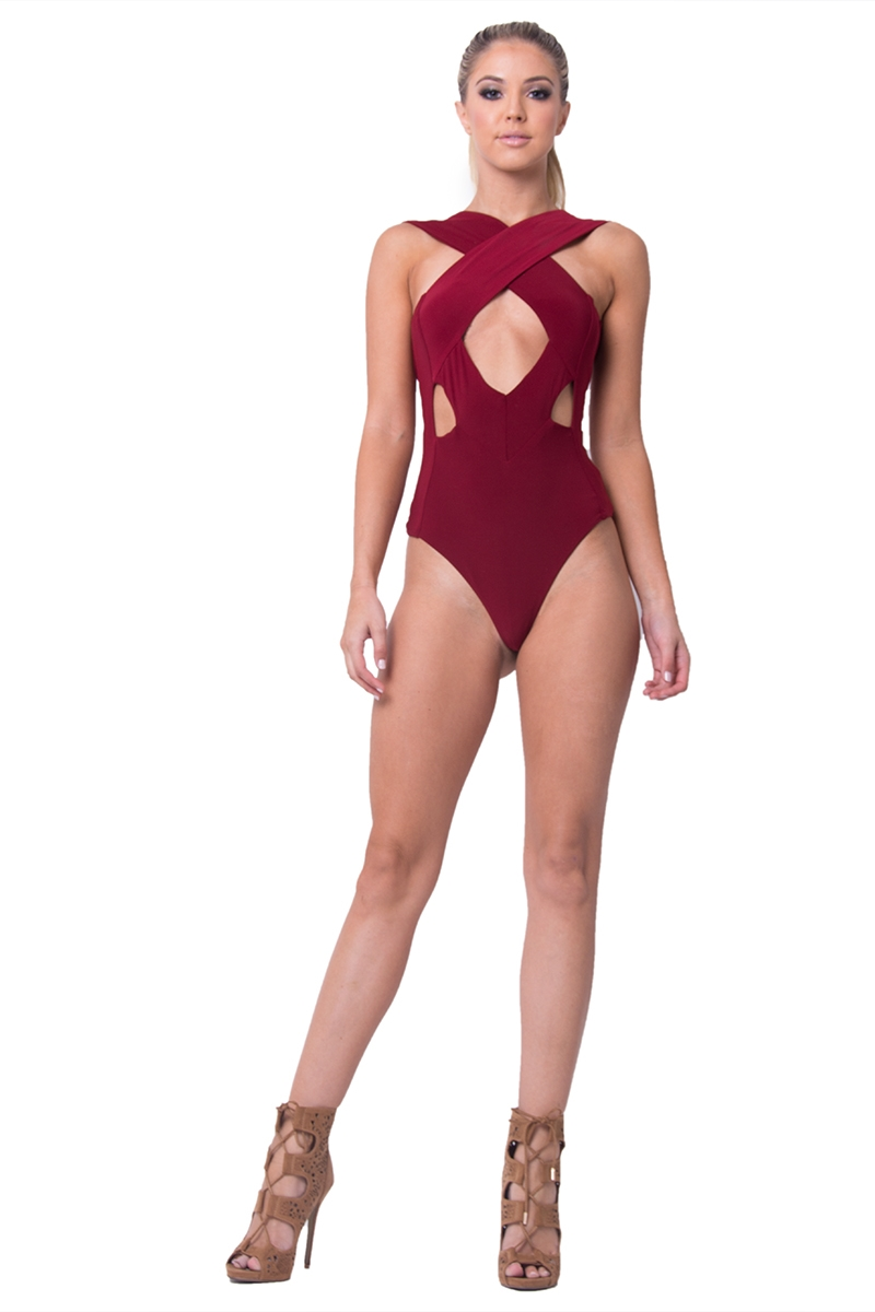 Sasha Criss-Cross Deep Back Cut Out Bodysuit