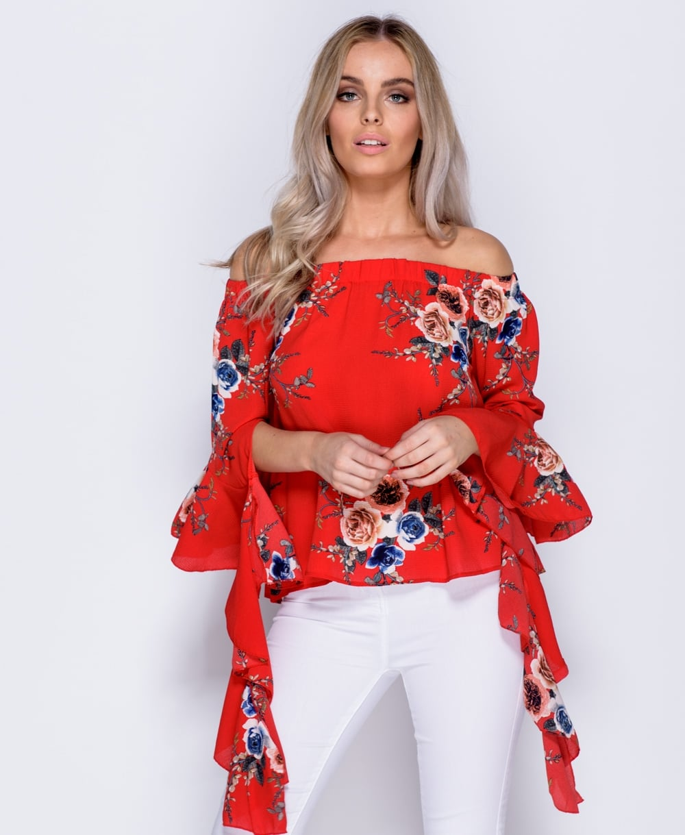 Brandi Floral Off the Shoulder Flare Sleeve Top
