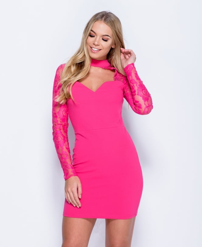 Lily Choker Neck Cut Out Bodycon Mini Dress