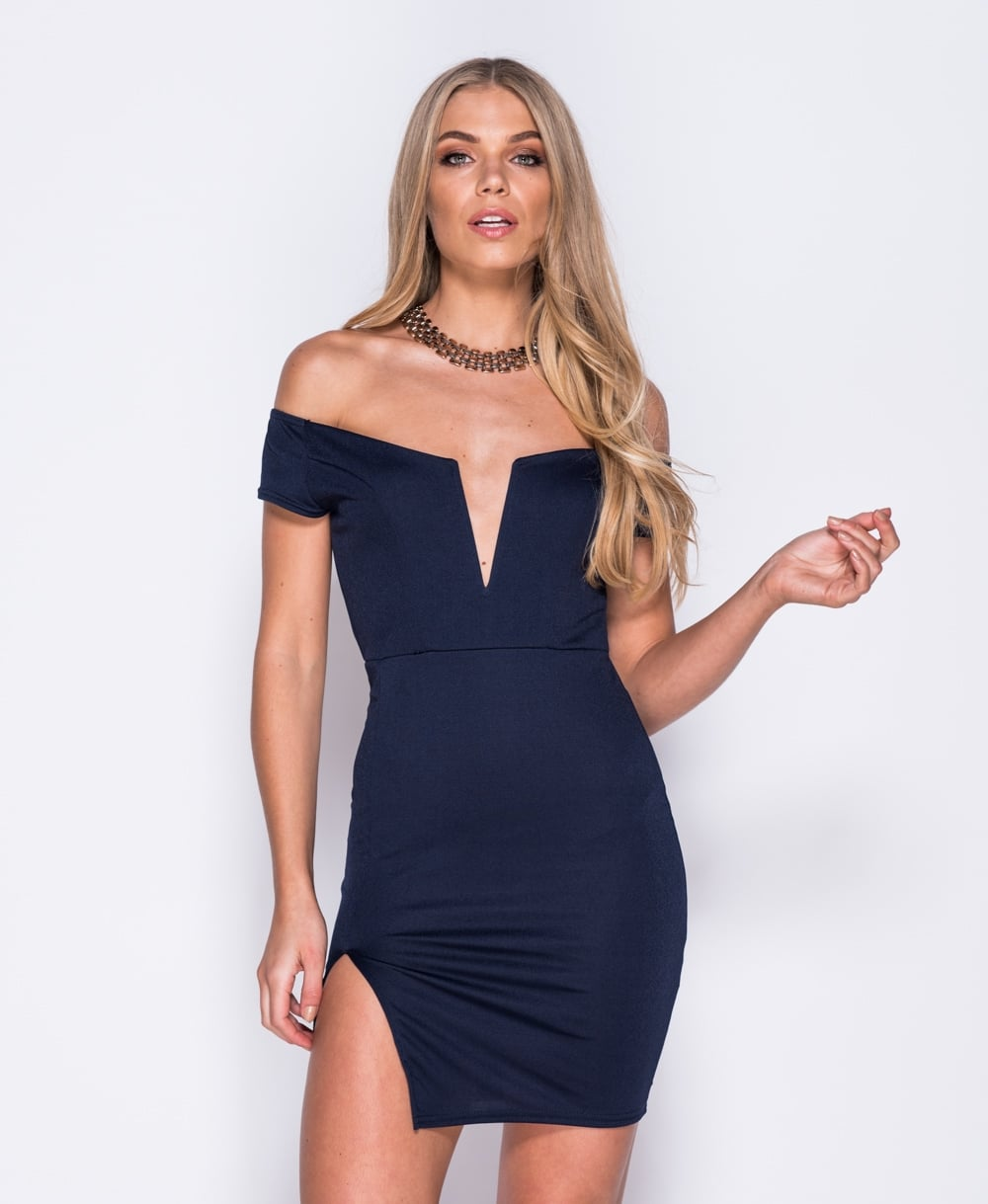 Desiree V-Neck Bardot Bodycon Mini Dress