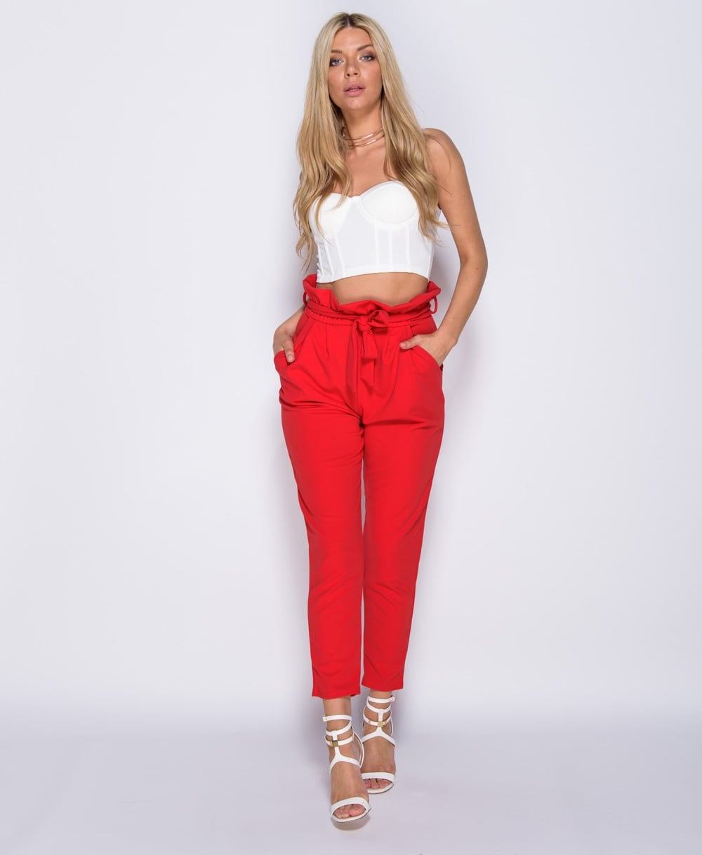 Cassie Paperbag Waist Belted Cropped Pants