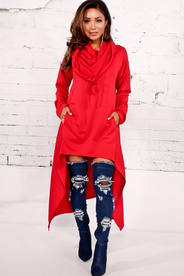 Alicia Hi-Low Hoodie Dress