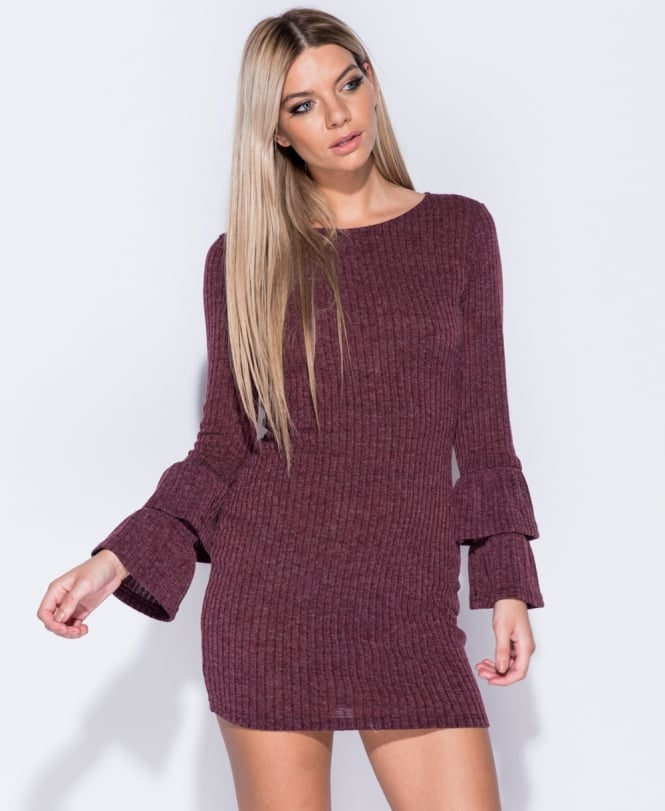 Mya Rib Multi Frill Sleeve Bodycon Sweater Dress