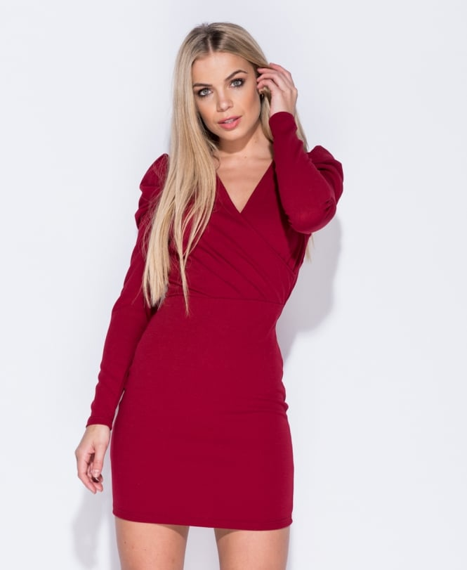 Apryl Puffed Sleeve Wrapped Front Bodycon Dress