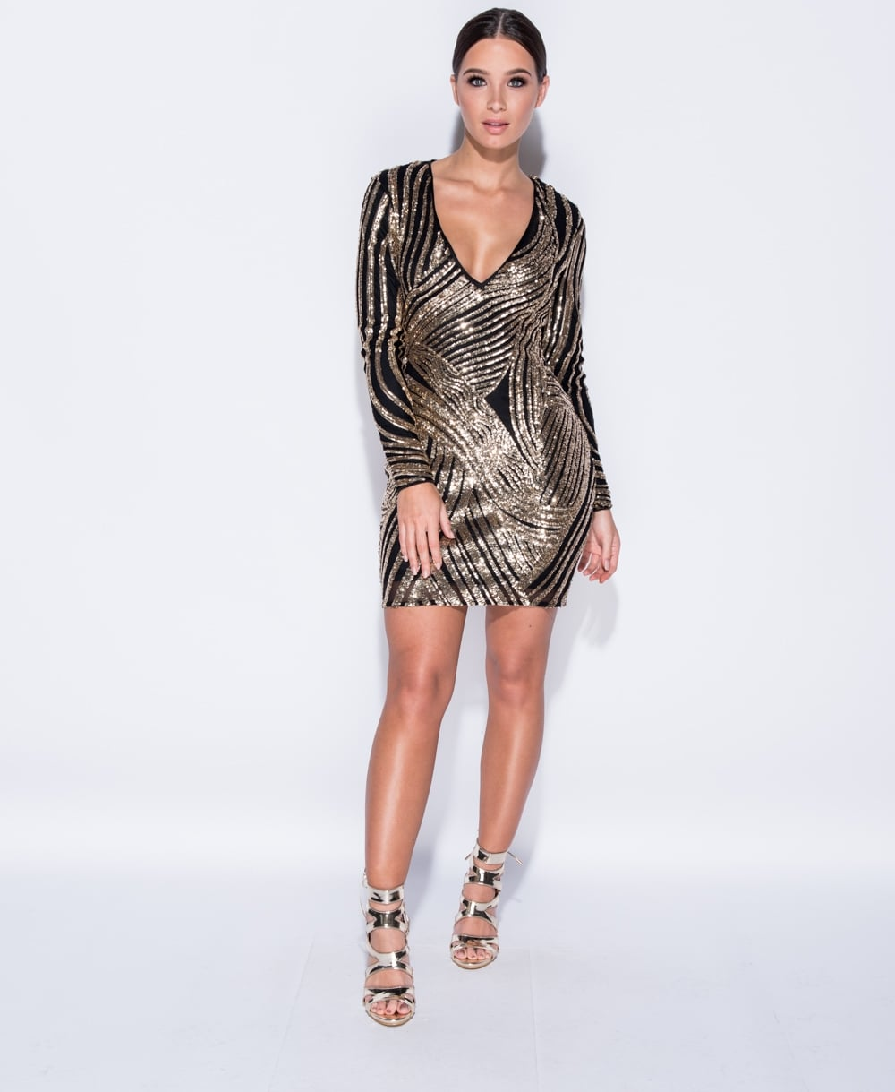 Val Sequin V-Neck Bodycon Mini Dress