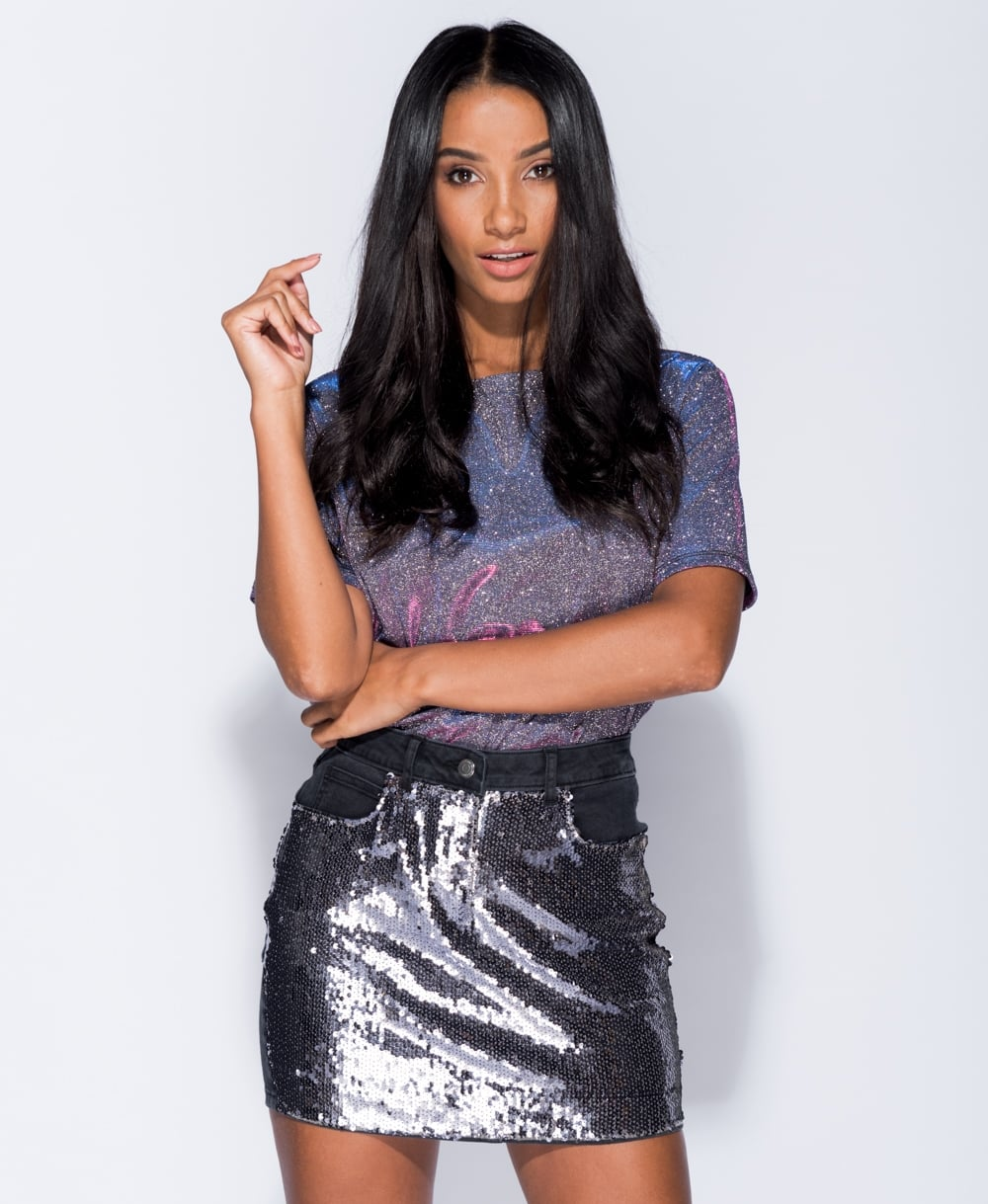 Fifi Sequins Front Denim Mini Skirt