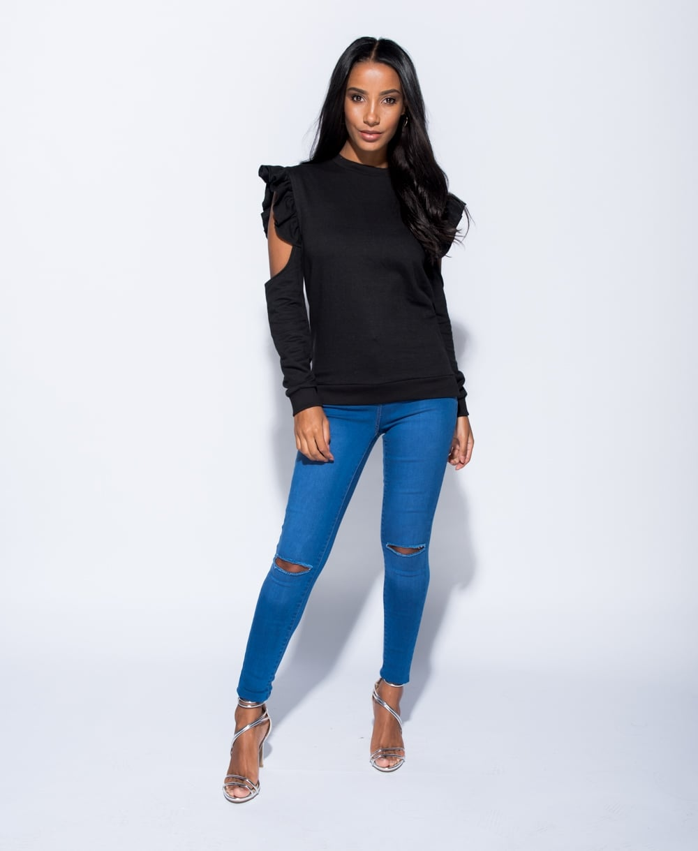 Lily Ruffle Trim Cold Shoulder Sweatshirt