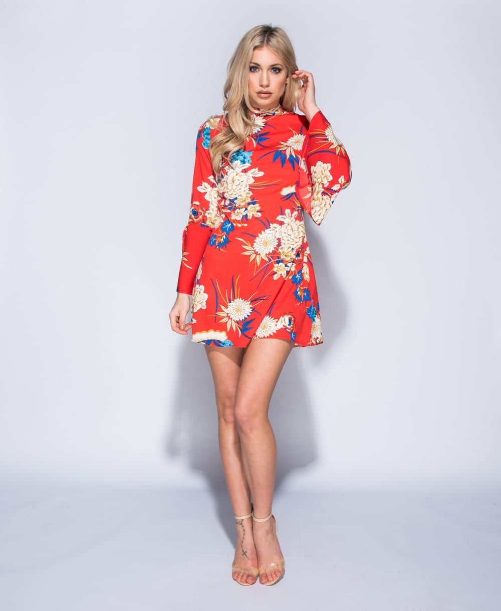 Katie Floral Print Mock Neck Mini Dress