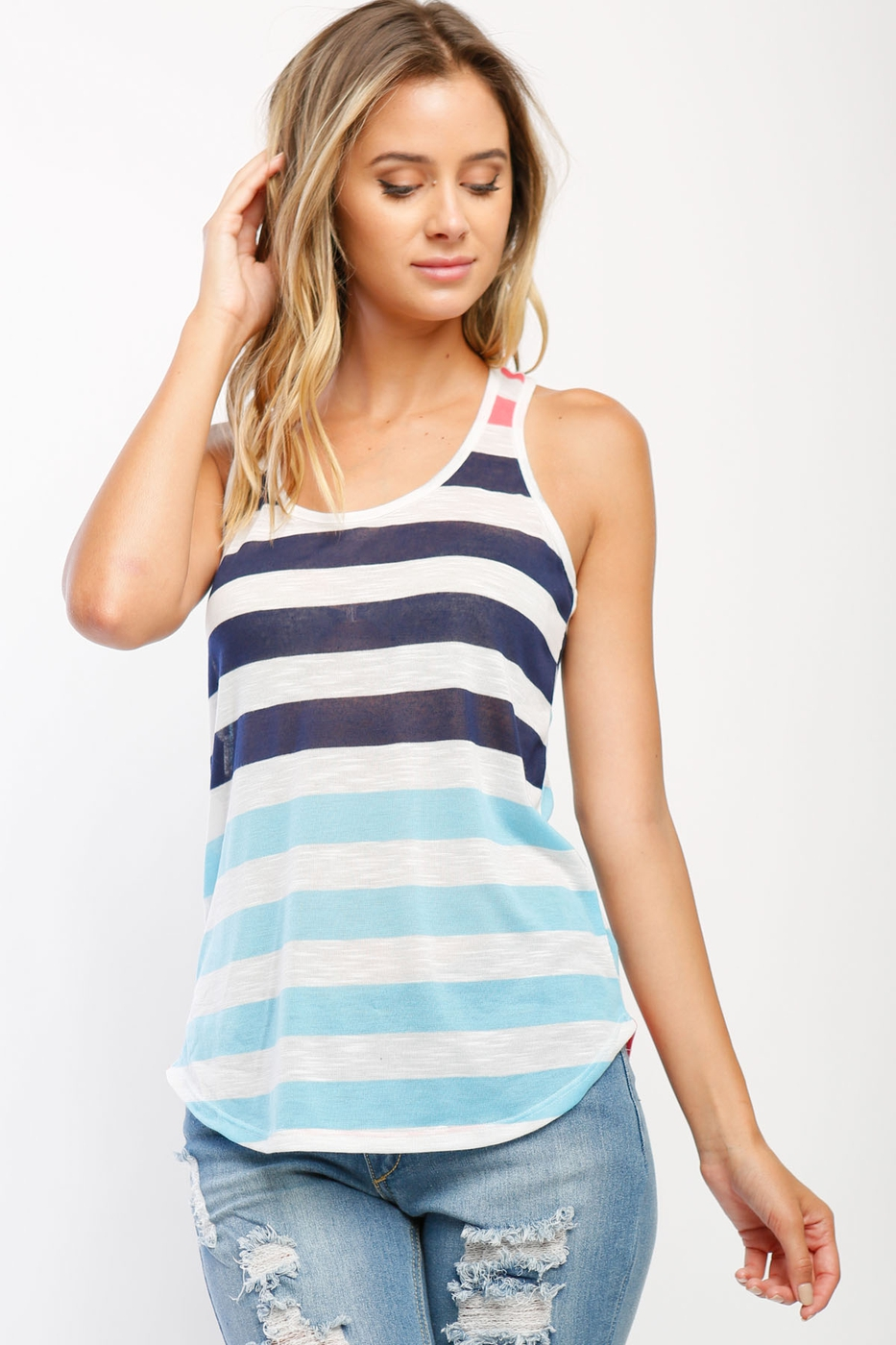 Tia Sleeveless Striped Tank