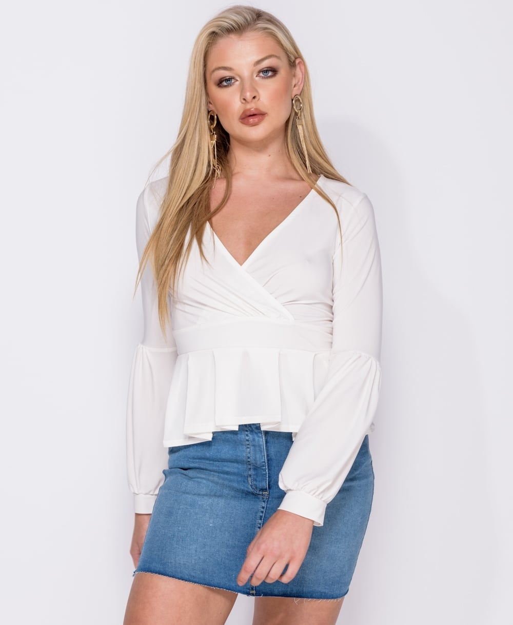 Jenna Peplum Wrap Front Long Sleeve Top