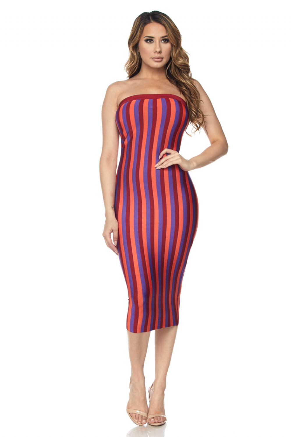 Ada Multi Striped Bandage Strapless Dress