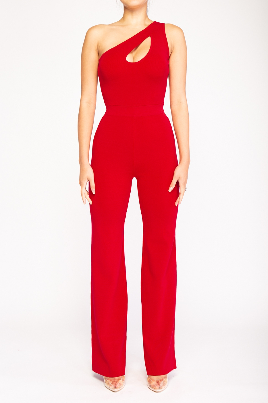 Abba One Shoulder Knit Jumpsuit