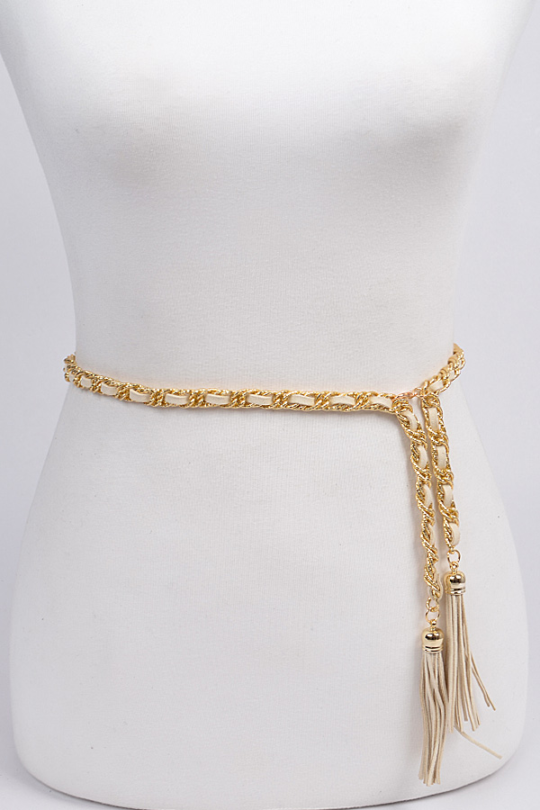 Bailey Chain and Yarn Twisted Link Waist Chain