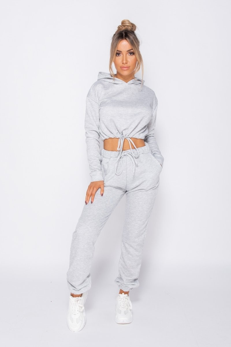 Sally Hooded Crop Top  and Joggers Two Piece Set