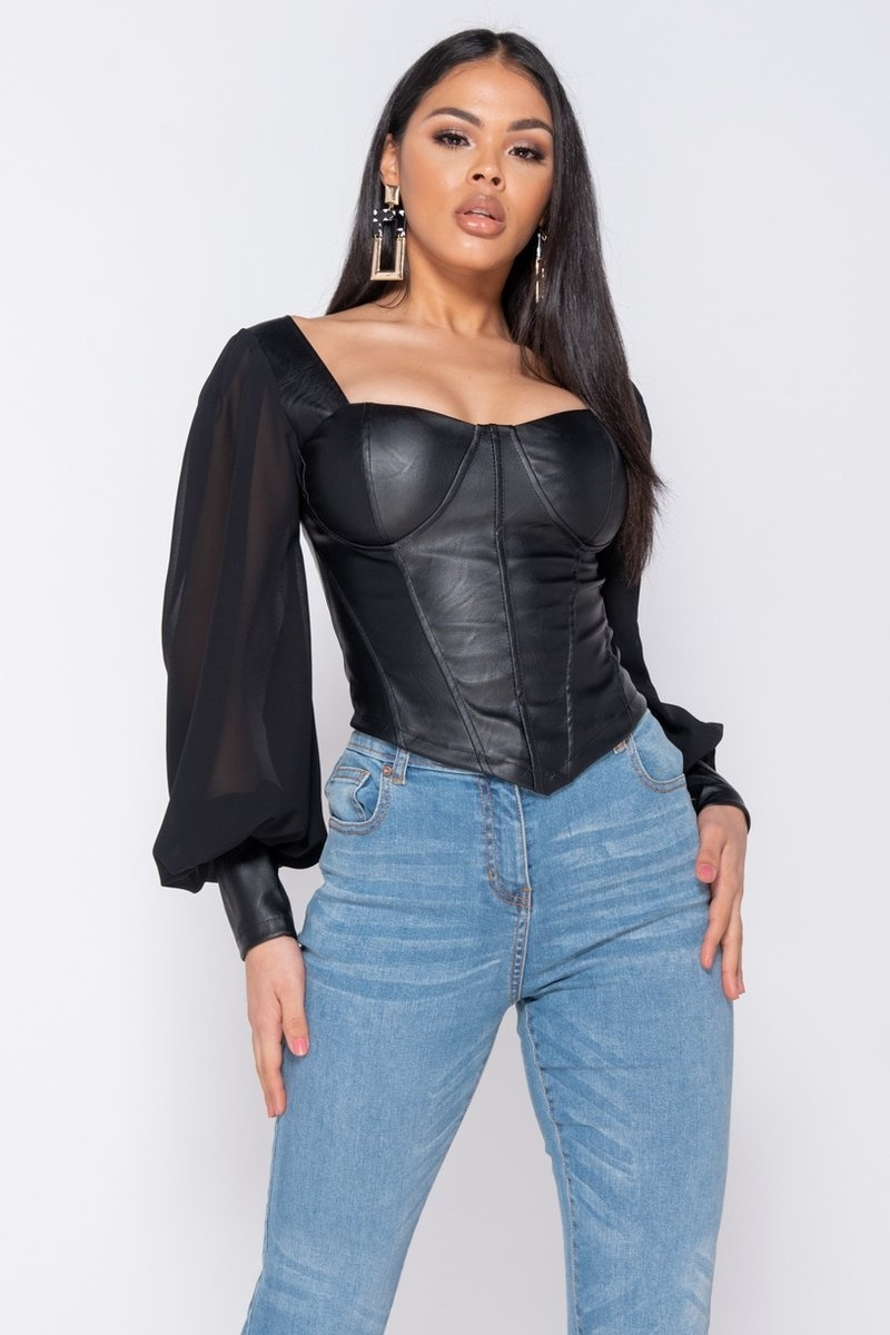 Melissa Vegan Leather Long Sleeve Bustier Top