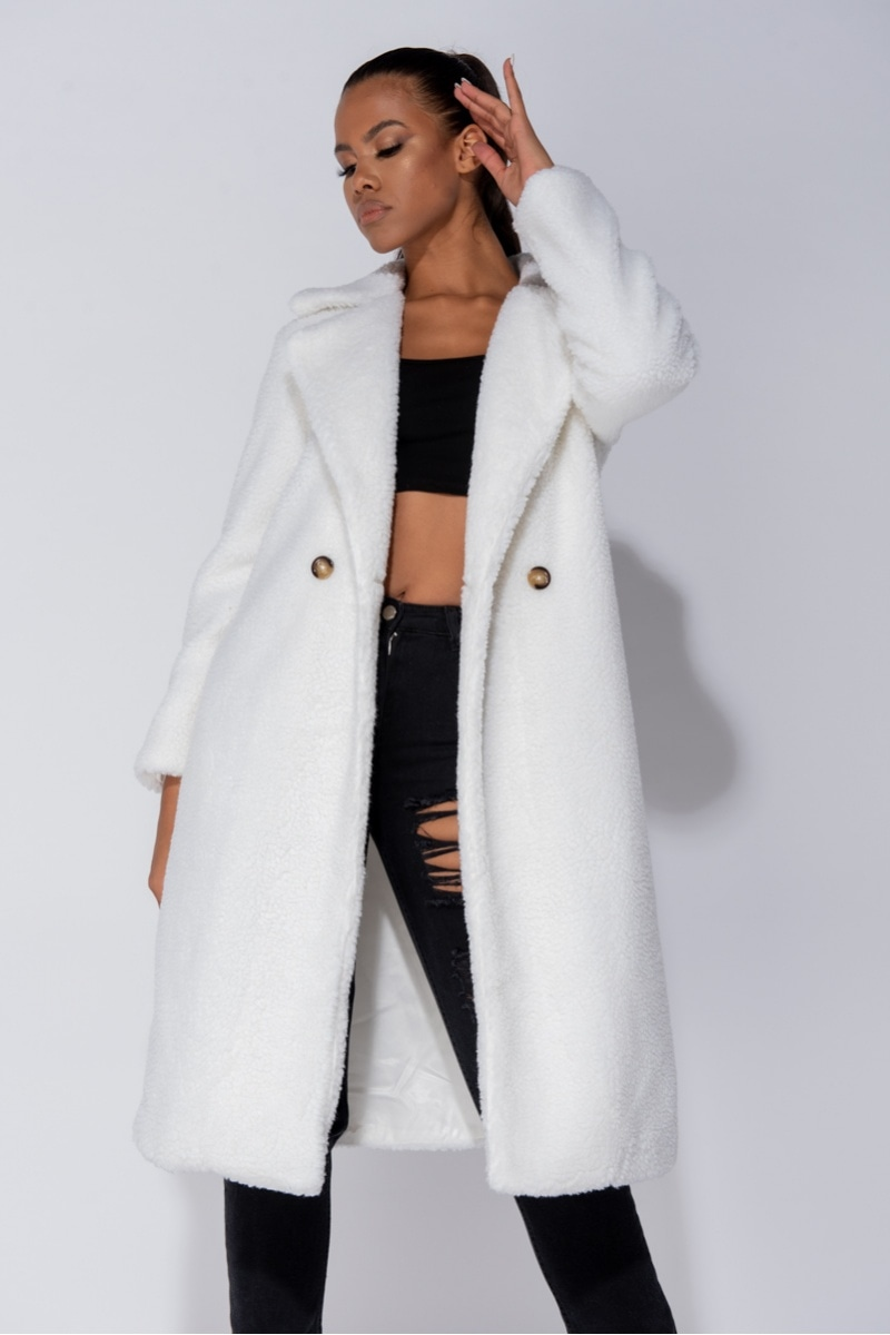 Donna Longline Double Breasted Borg Teddy Coat
