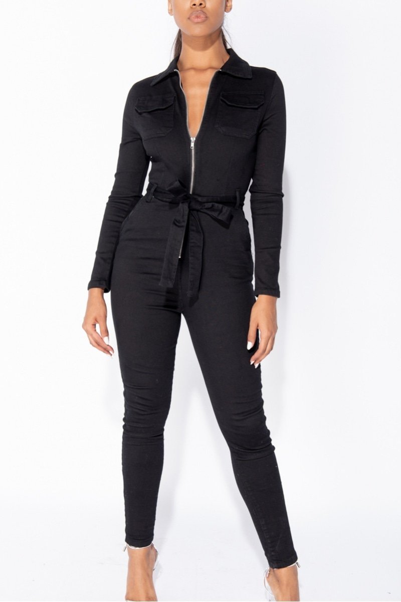 Jenn Long Sleeve Denim Bodycon Jumpsuit