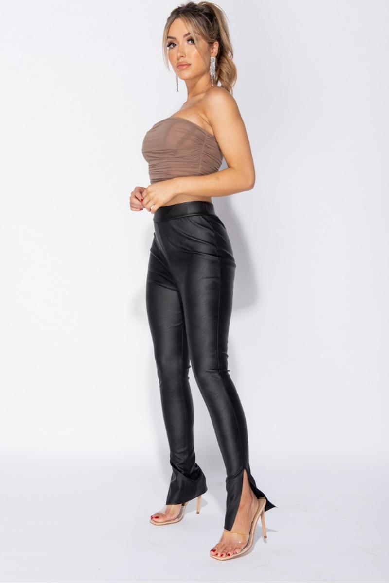 Maria High Waist Side Split Vegan Leather Skinny Pants