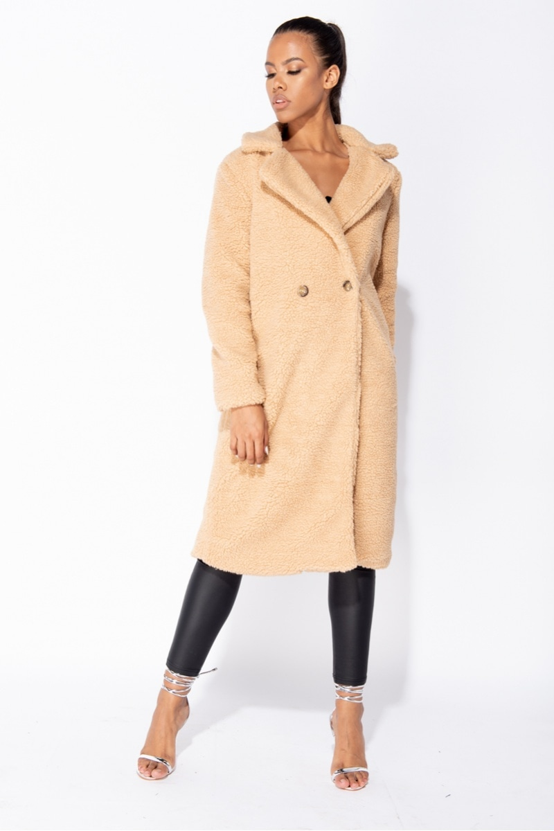 Lillian Longline Double Breasted Borg Teddy Coat
