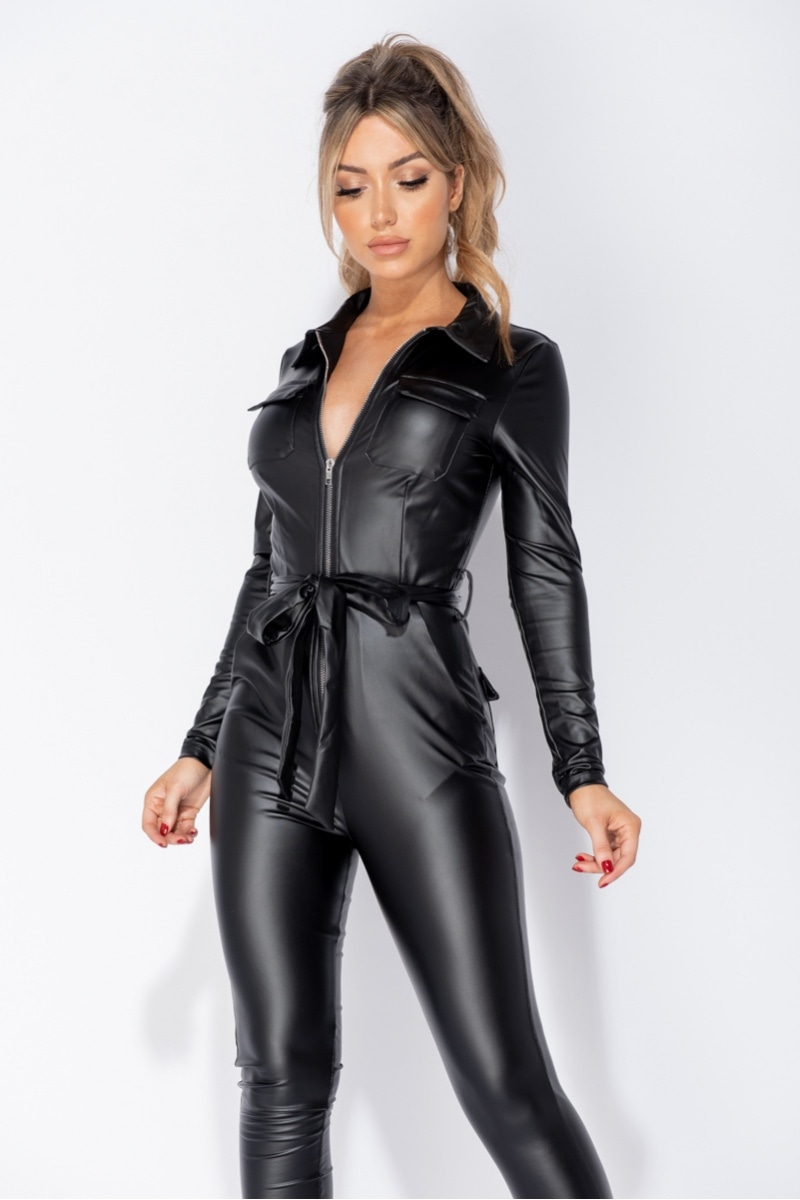 Lori Vegan Leather Long Sleeve Bodycon Jumpsuit
